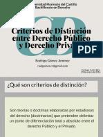 Criterios de distinción entre Derecho Público y Derecho Privado