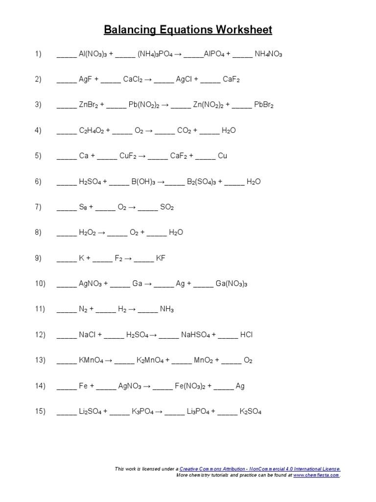 Balancing Equations Worksheet Atoms – Chemfiesta Balancing Equations Worksheet Answers