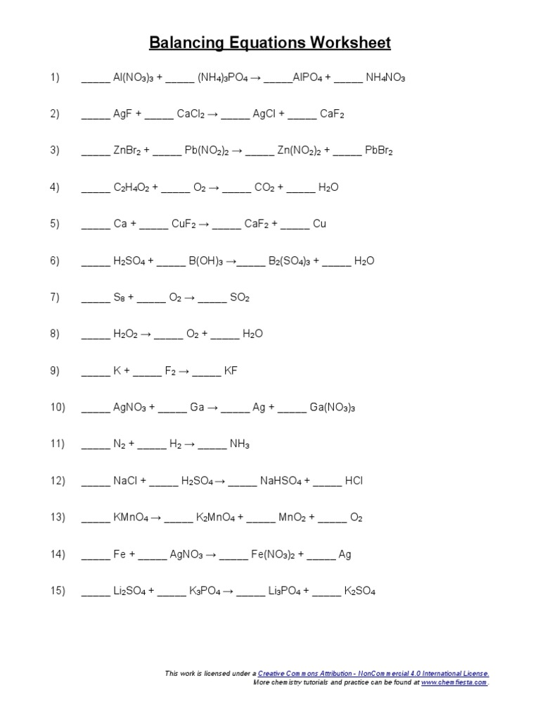 worksheet Balancing Equations Worksheet 2 Answers balancing equations worksheet atoms chemical substances