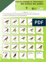 Fiche de comptage de l'Observatoire des oiseaux