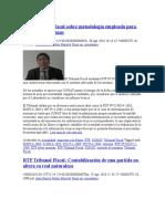 RTF Tribunal Fiscal Sobre Metodología Empleada Para Sustento De