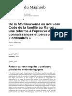 De La Moudawwana Au Nouveau Code de La Famille Au Maroc