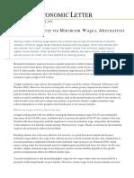 Reducing Poverty via Minimum Wages, Alternatives