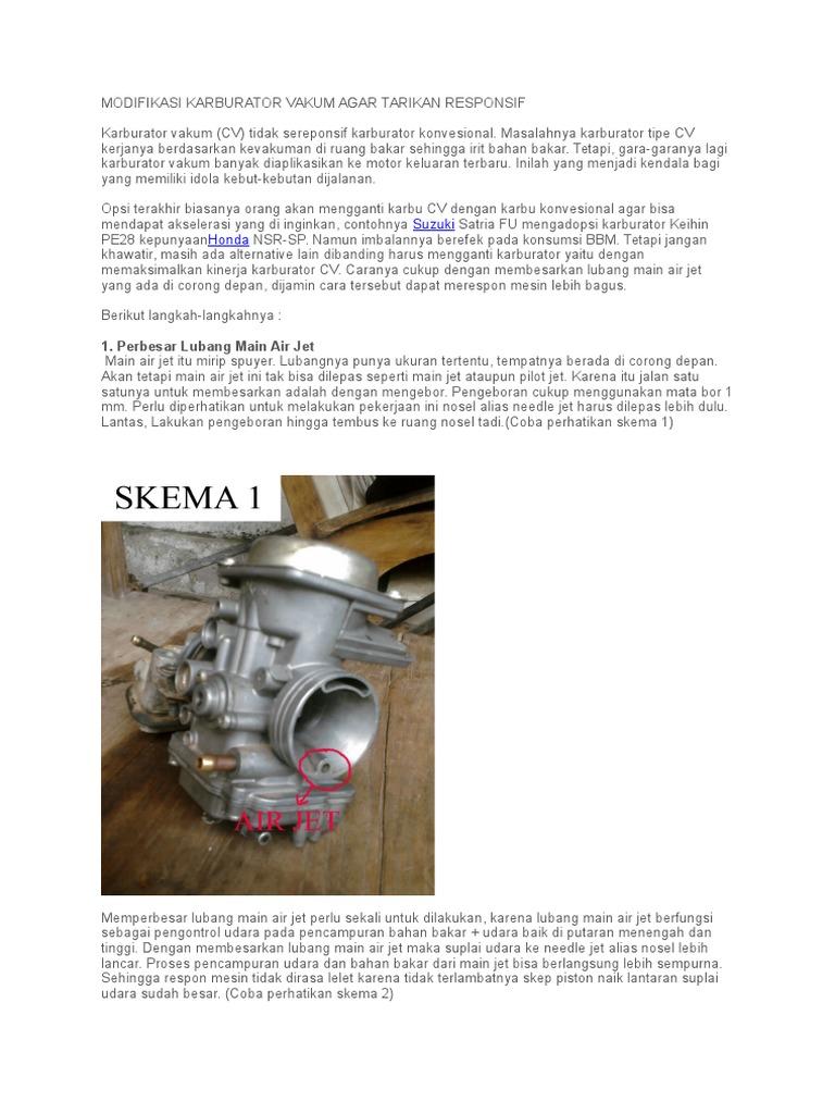 Modifikasi Karburator Vakum Agar Tarikan Responsif