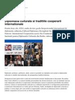 Diplomatia Culturala Si Traditiile Cooperarii Internationale