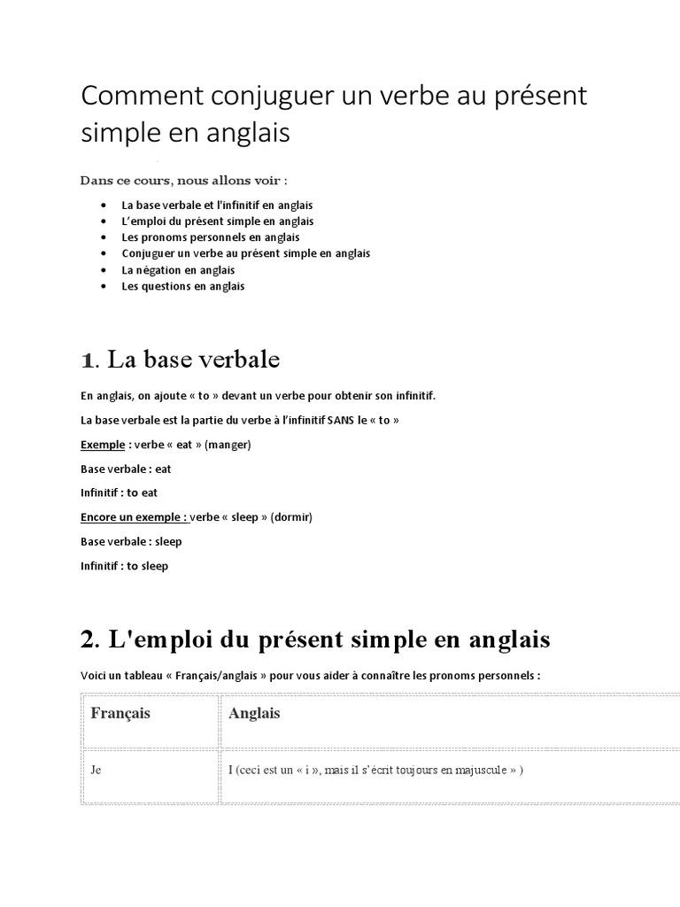 Le Present Simple En Anglais Verbe Conjugaison