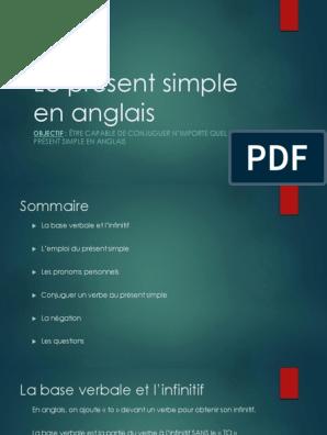 Le Present Simple En Anglais Pdf Verbe Conjugaison
