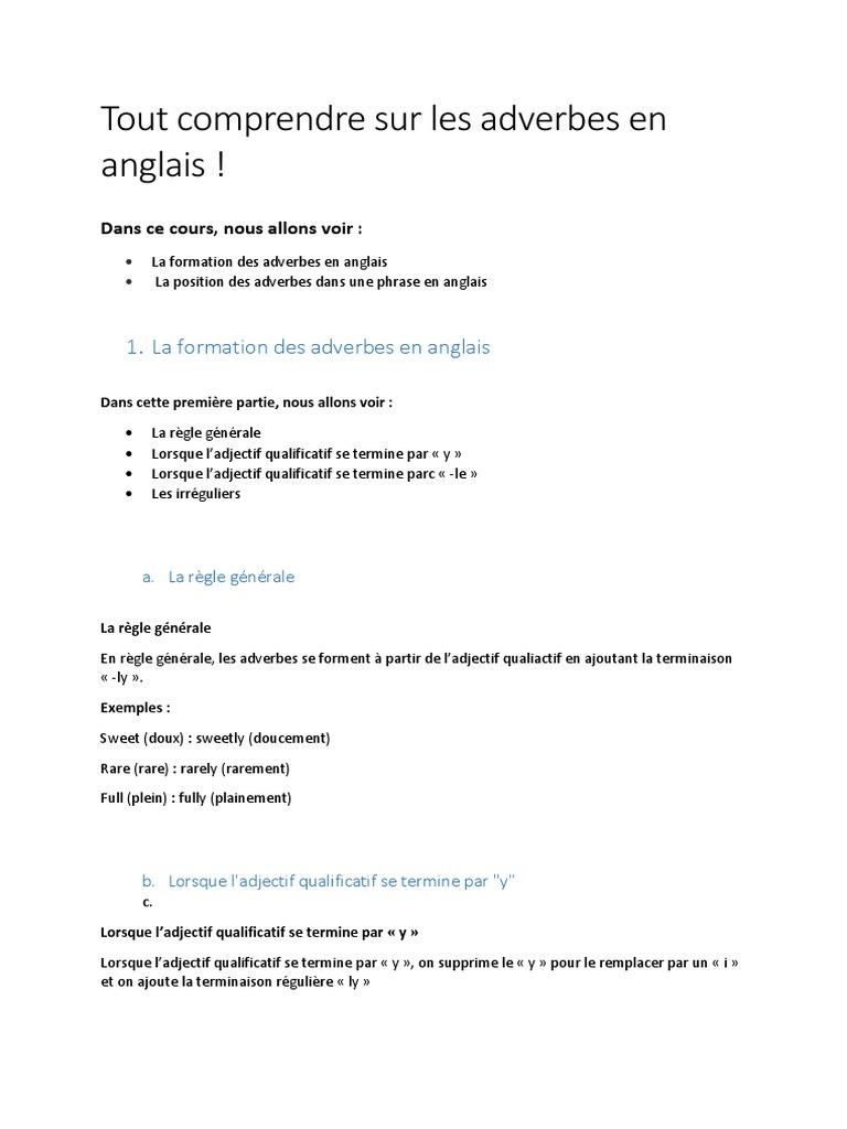 Les Adverbes En Anglais Verbe Grammaire