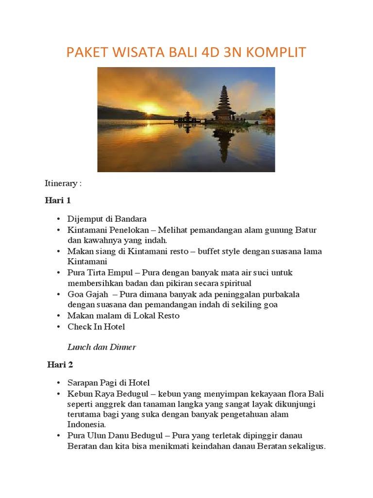 Paket Wisata Bali 4d 3n Komplit Pdf