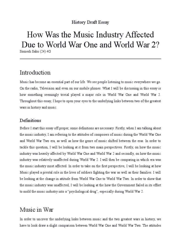 essay about world war 1
