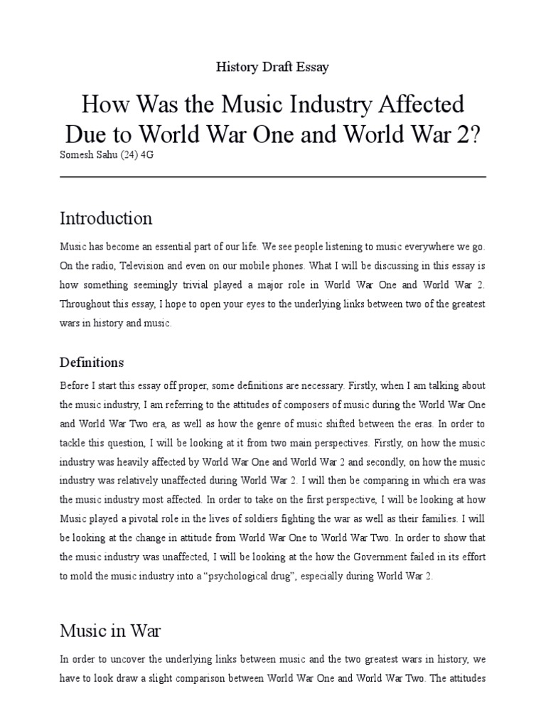 A look at an essay on word war ii