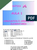 Matemática Aula 01 - Conjuntos e Operações Elementares