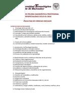 Prueba Diagnósdtica Profesional CONTENIDOS Facultad de Ciencias Sociales