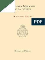 Anuario 2012 Academia Mexicana de La Lengua