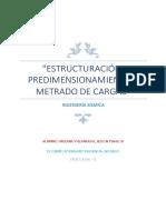 Estructuración - Predimensionamiento - Metrado de Cargas