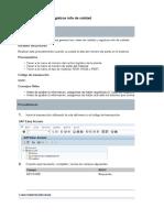 MM01 Crear Vistas y Registros Info de Calidad