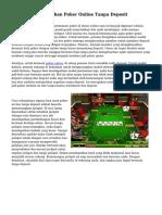 Trik Bermain Taruhan Poker Online Tanpa Deposit