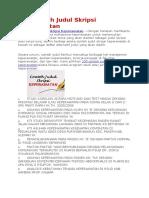 100 Contoh Judul Skripsi Keperawatan