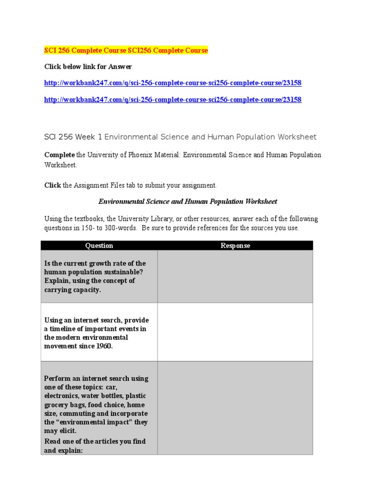 SCI 256 Complete Course SCI256 Complete Course Ecosystem – Carrying Capacity Worksheet