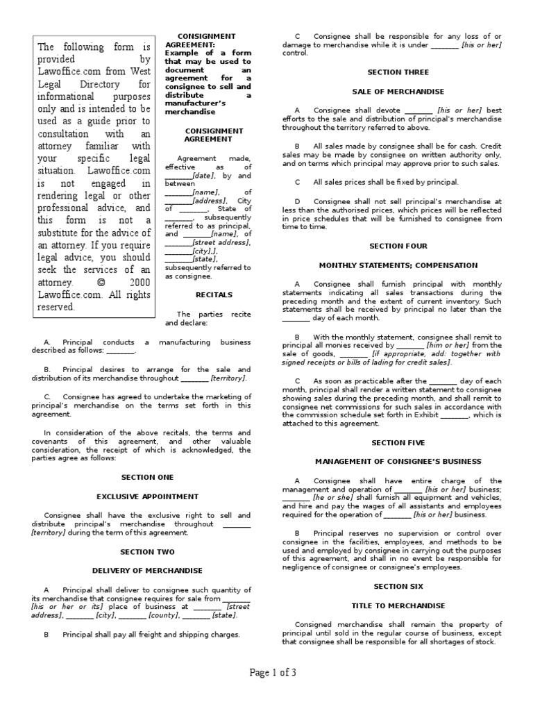Consignment agreement 2 employee benefits employment platinumwayz