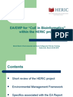 """EA/EMP for """"CoE in Bioinformatics""""  within the HERIC project"""