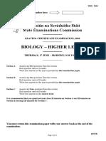 Leaving Cert Biology Exam Paper 2010