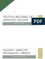 Trabalho sobre a politica nacional de residuos solidos no Brasil