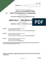 Leaving Cert Biology Exam Paper 2011