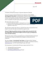HONEYWELL Final Online Avionics Interchangeable Parts Matrix With Letter-Rev1 Dtd 8-12-2013
