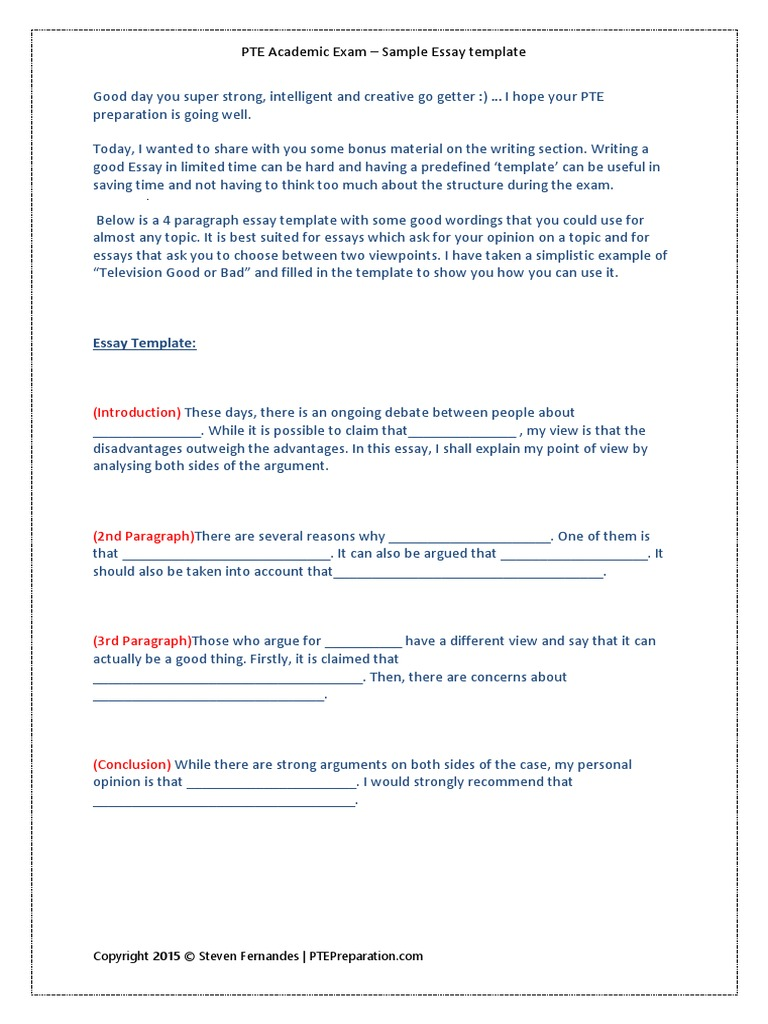 PTE Essay Writing Template1 Steven Fernandes | Essays | Test ...