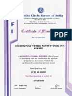 QCFI Registration Certificate for Chandrapura Thermal