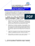Informe de Gestion Unidad de Emprendimiento Semestre a - 2013