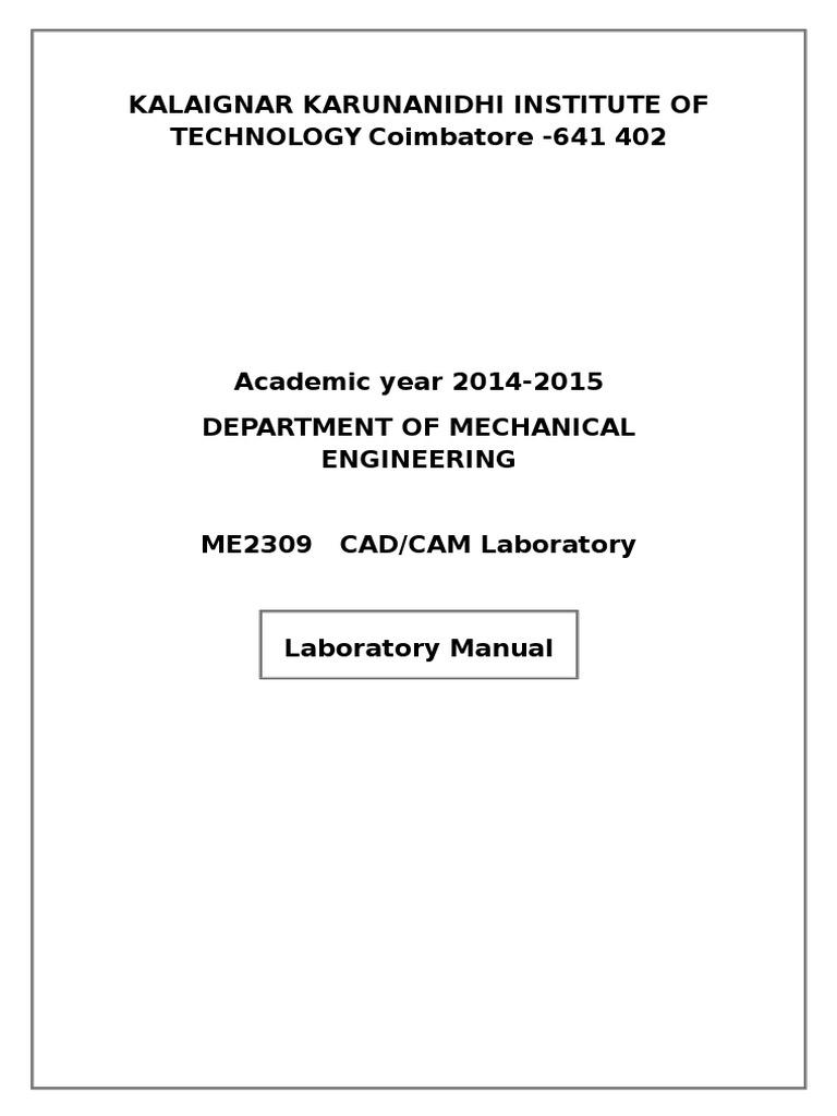 cad cam lab manual computer aided design industries rh es scribd com cad lab manual for civil engineering pdf cad lab manual 6th sem