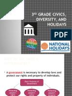 3rd grade civics diversity and holidays