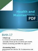 Health and Maintenance -NUDI 1013