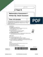 Year 8 Maths Assessment 1
