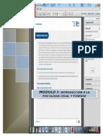 Indice Modulo 1 Contenidos Magister en Psicología Forense