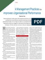 Embedding Risk Management for Improved Organisational Performance