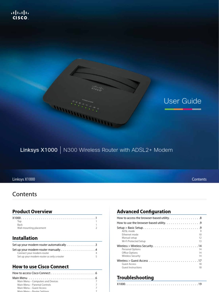 Linksys Wireless Adsl Modem Router x1000 User Manual | Wi Fi