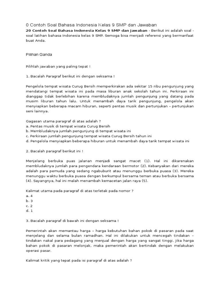 Soal Bahasa Indonesia Kelas 9 Smp Dan Jawaban