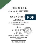 Franz Mesmer = Memoire Sur La Decouverte Du Magnet is Me Animal