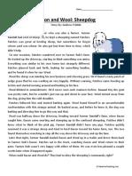 Bacon and Wool Sheepdog Third Grade Reading Comprehension Worksheet