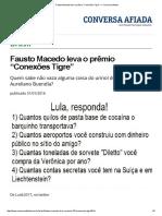 "Fausto Macedo Leva o Prêmio ""Conexões Tigre"" — Conversa Afiada"