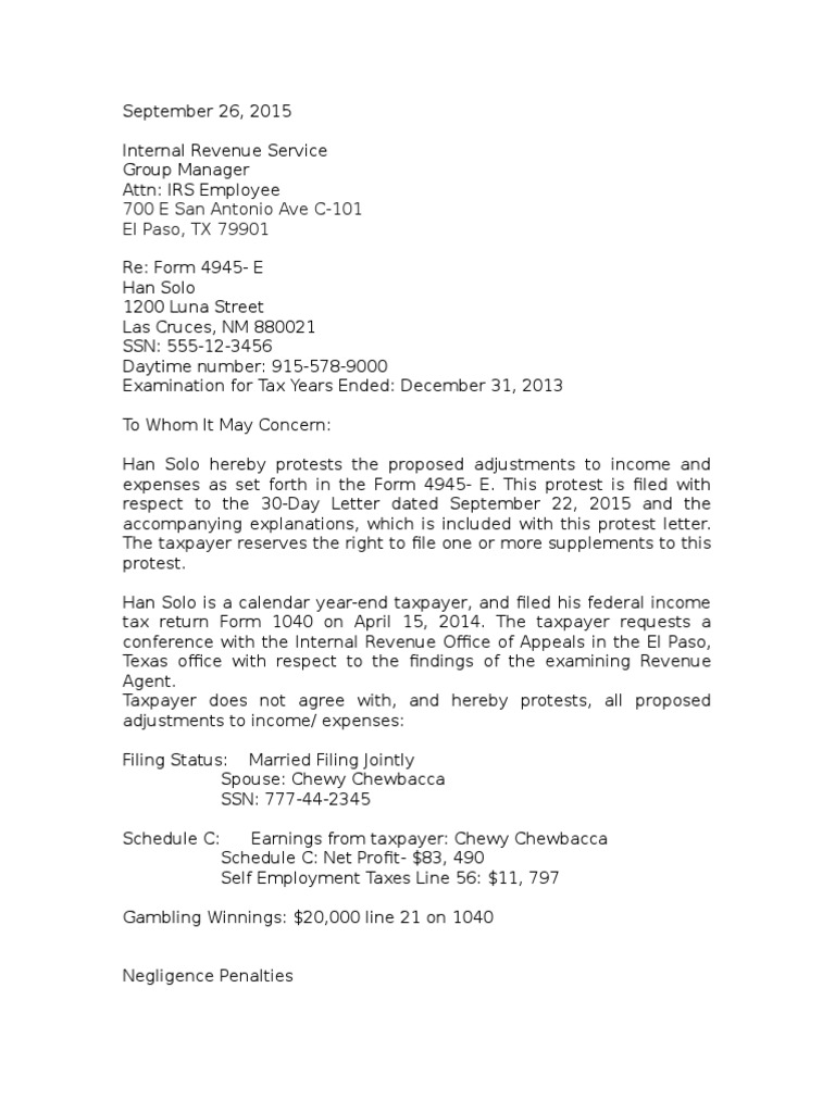Protest letter irs tax forms tax return united states falaconquin