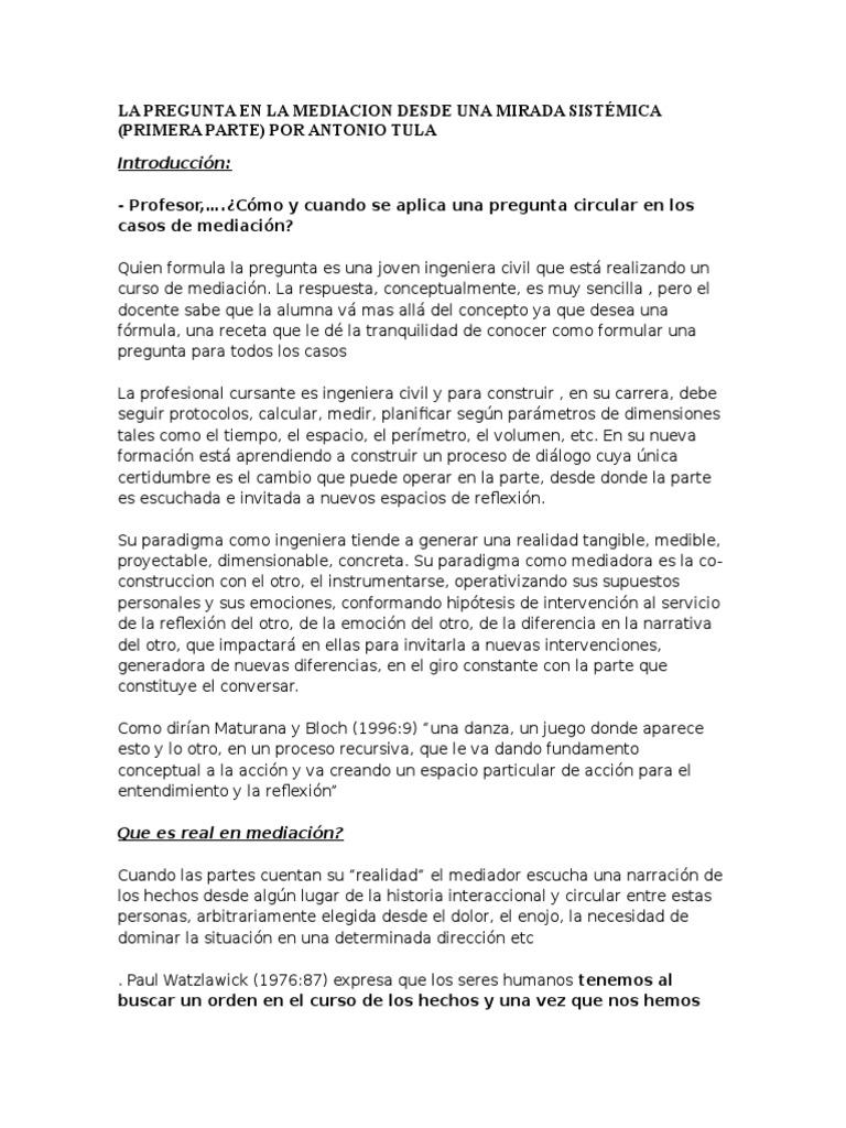 Med - La Pregunta en La Mediacion Desde Una Mirada Sistmica