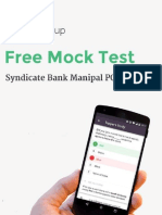 Syndicate Bank Manipal PO Mock Test