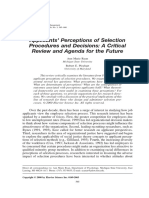 Applicants Perception on Selection Procedure