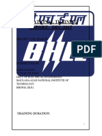 98557046 Summer Training Report at B H E L Bhopal