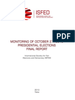 MONITORING OF OCTOBER 27, 2013 PRESIDENTIAL ELECTIONS FINAL REPORT