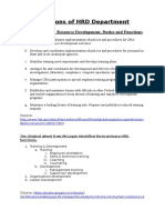 Functions of HRD Department